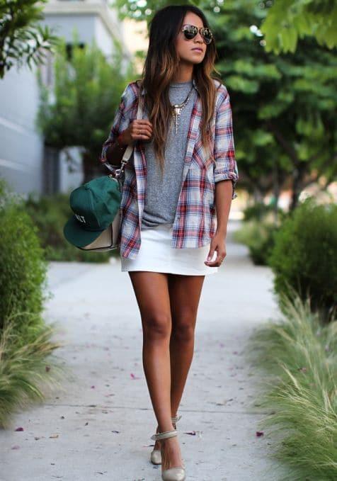 camisa xadrez de manga curta