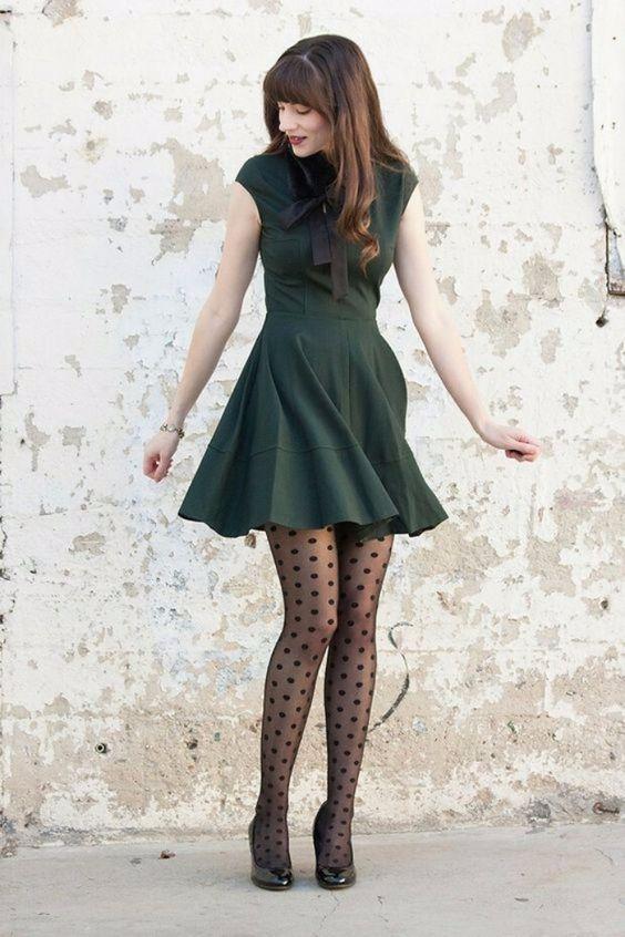 vestido e meia fina