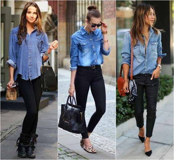 looks com camisa jeans