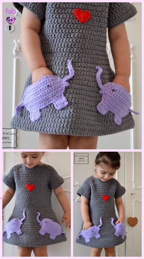 Vestido de crochê infantil com bolsos
