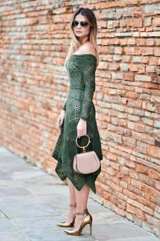 Vestido de crochê longo verde