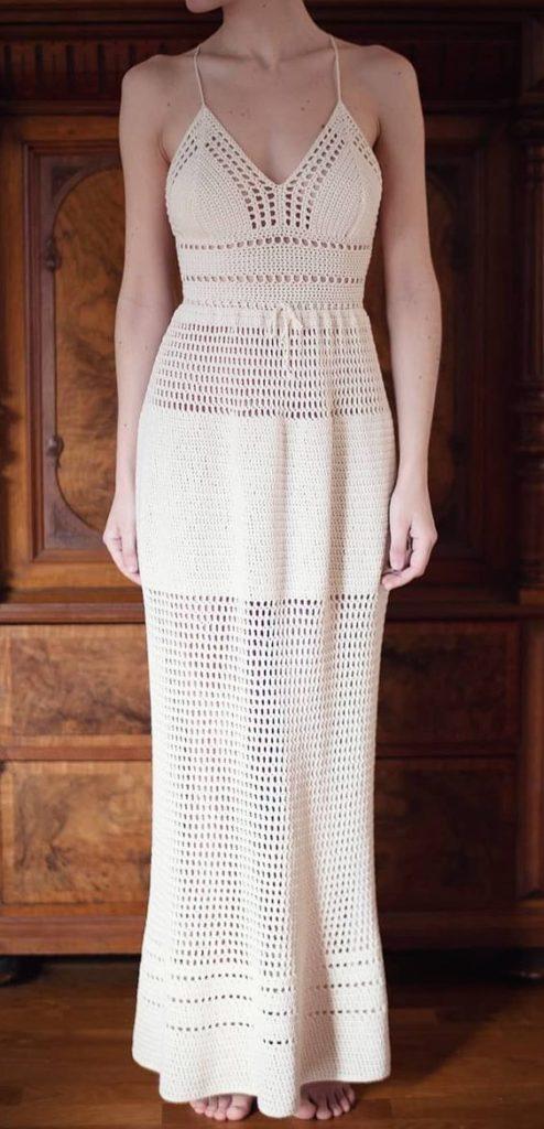 Vestido de crochê longo branco