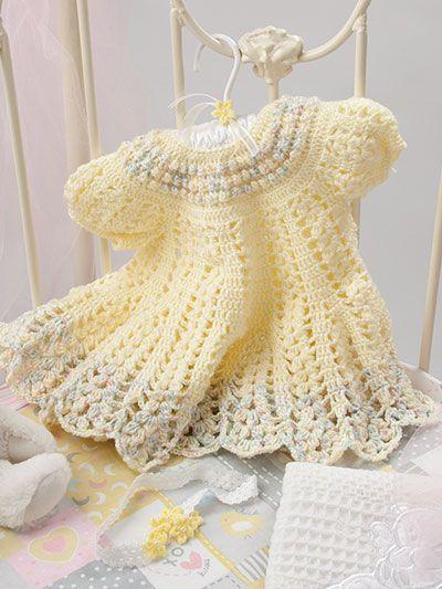 Vestido de crochê para bebê, amarelo
