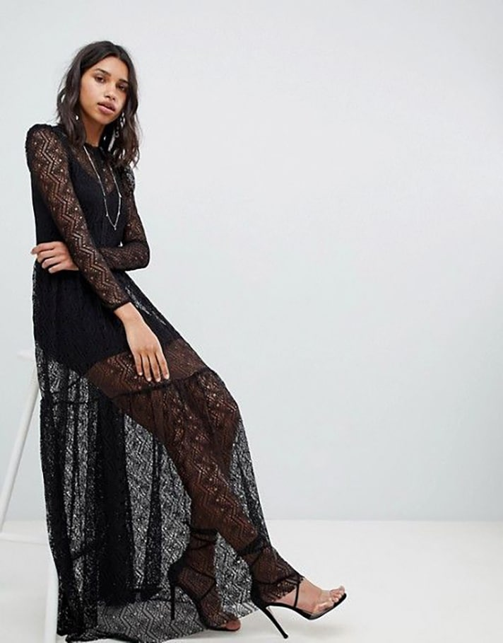 Vestido de crochê longo preto