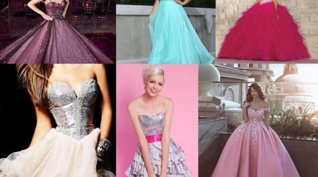 Opções de vestidos para debutante