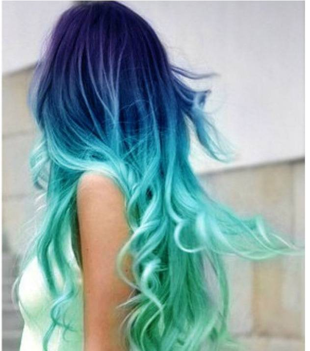 Ombre hair turquesa