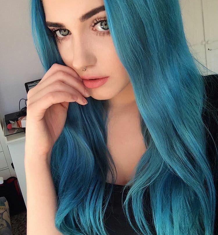 Aplique longo peruca azul