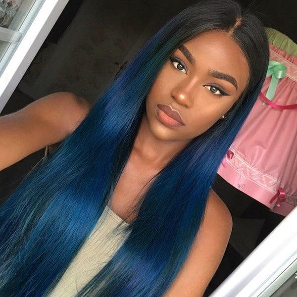 Azul escuro liso longo