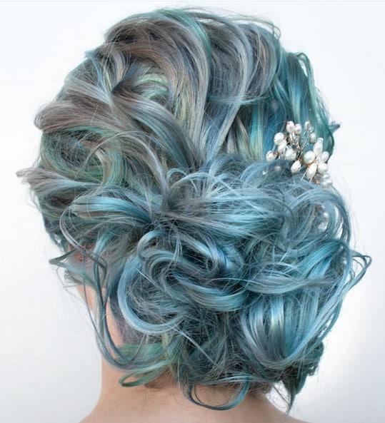 Penteado casamento cabelo azul