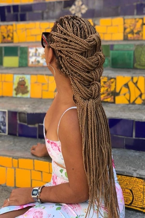 penteados com tranças em box braids