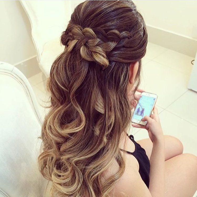 penteado com trança beach waves