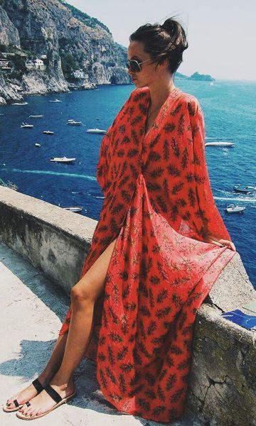 Saía de praia longa vermelha kimono