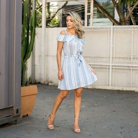 Vestido verão listrado azul claro