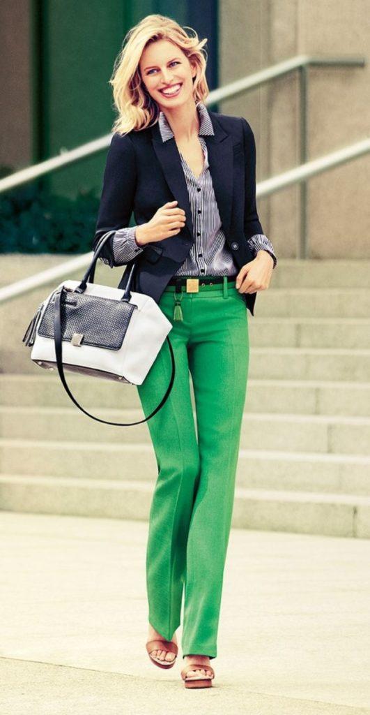 Calça verde blazer preto