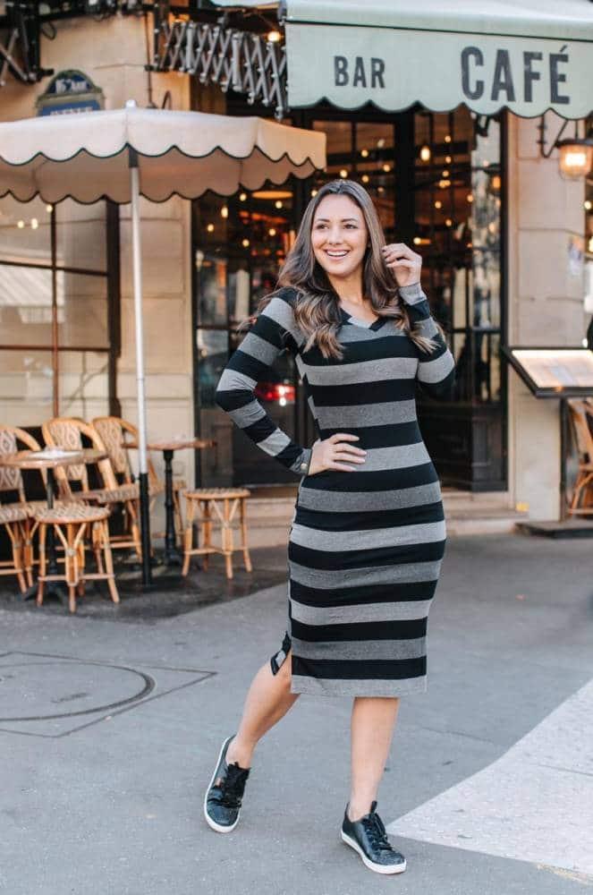vestido midi cinza