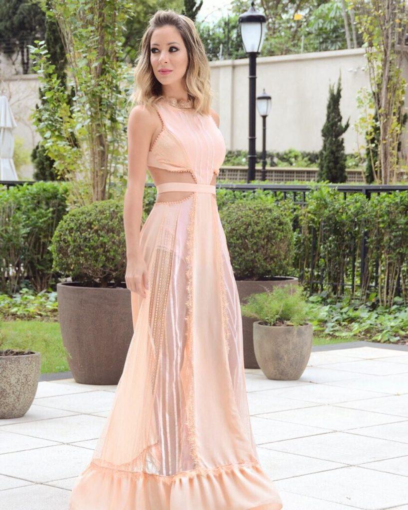 Vestido rose de festa