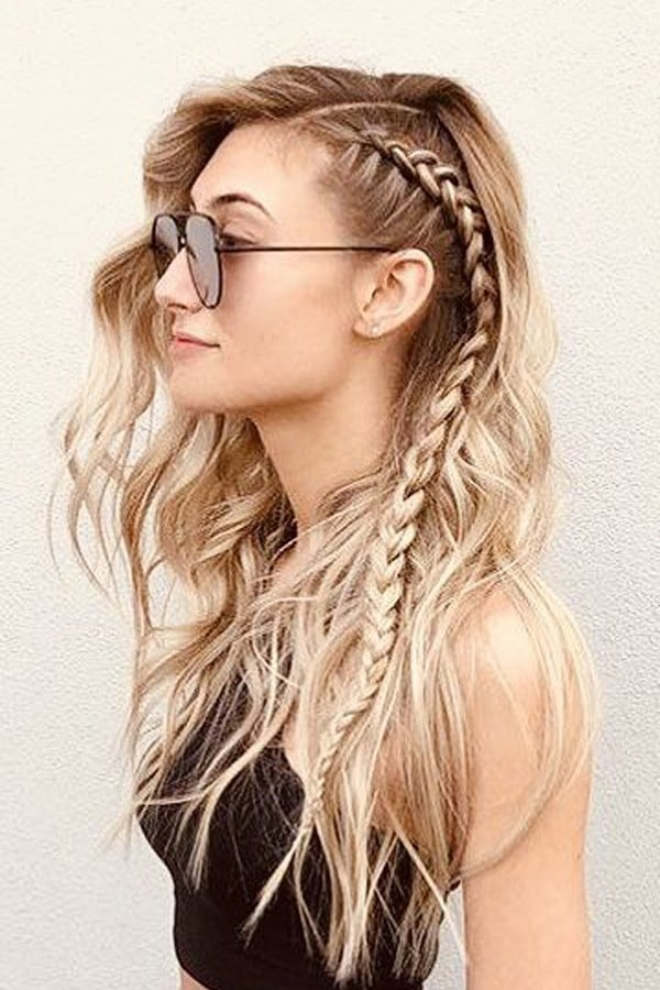 Trança lateral cabelo longo