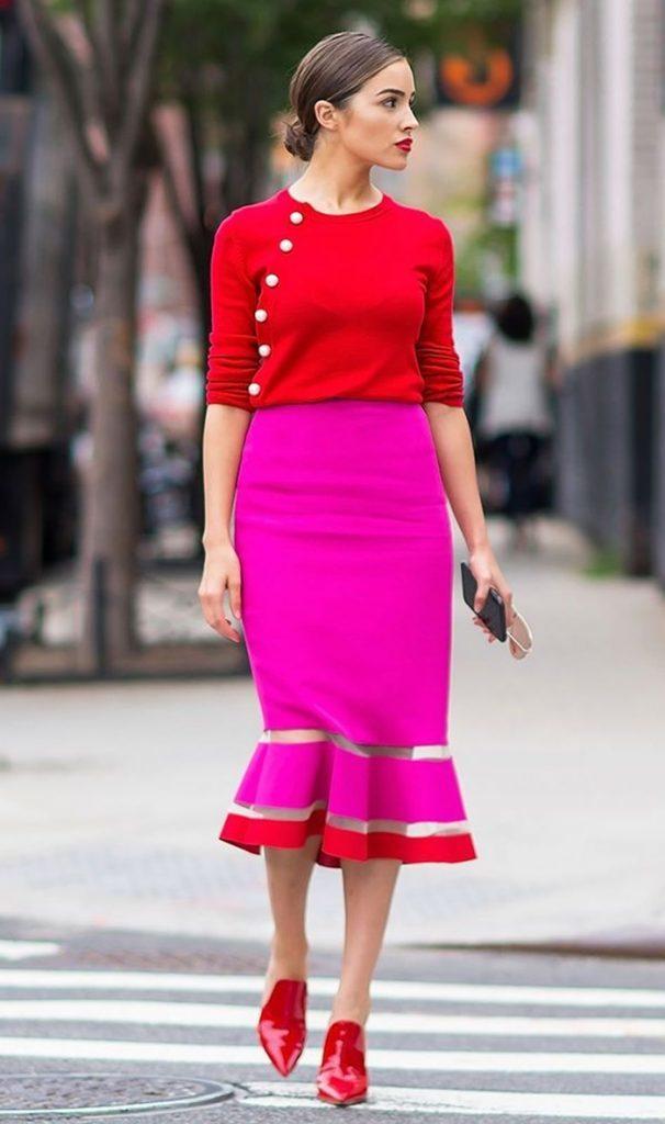 Saia pink e vermelho