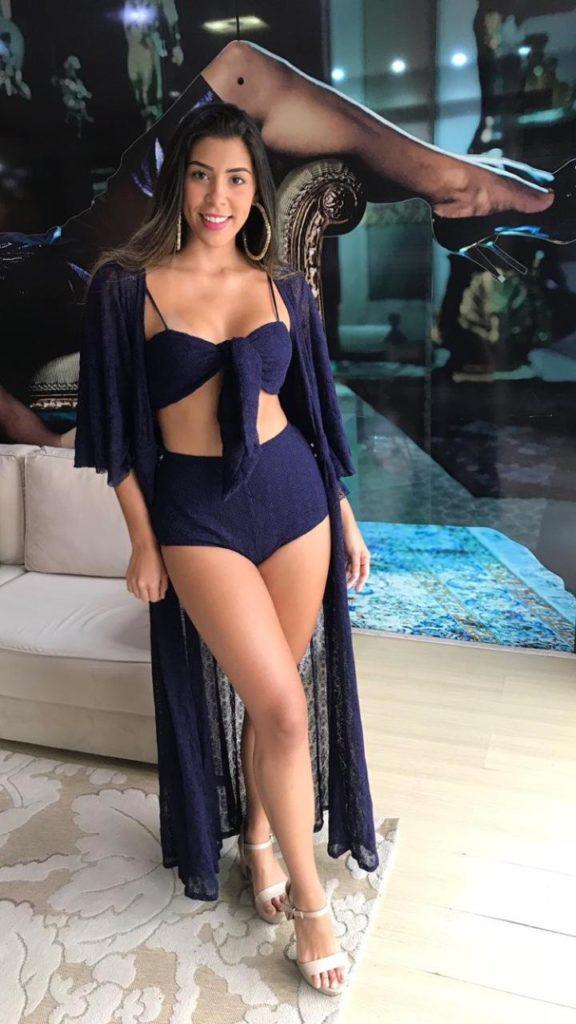 Kimono e biquini azul marino