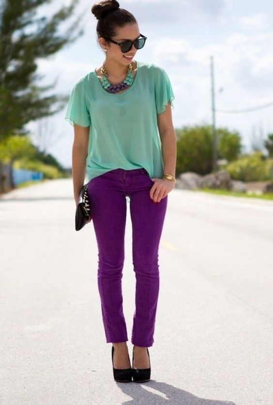 look roxo e verde