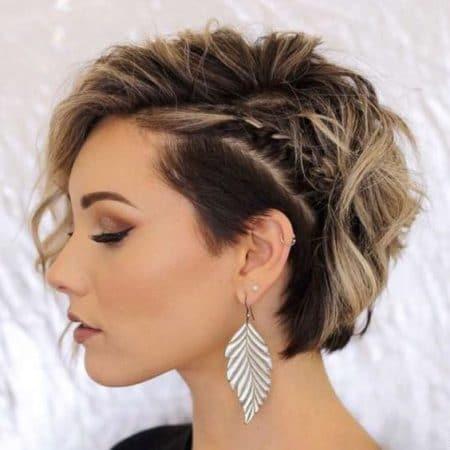 cabelo curto trança lateral