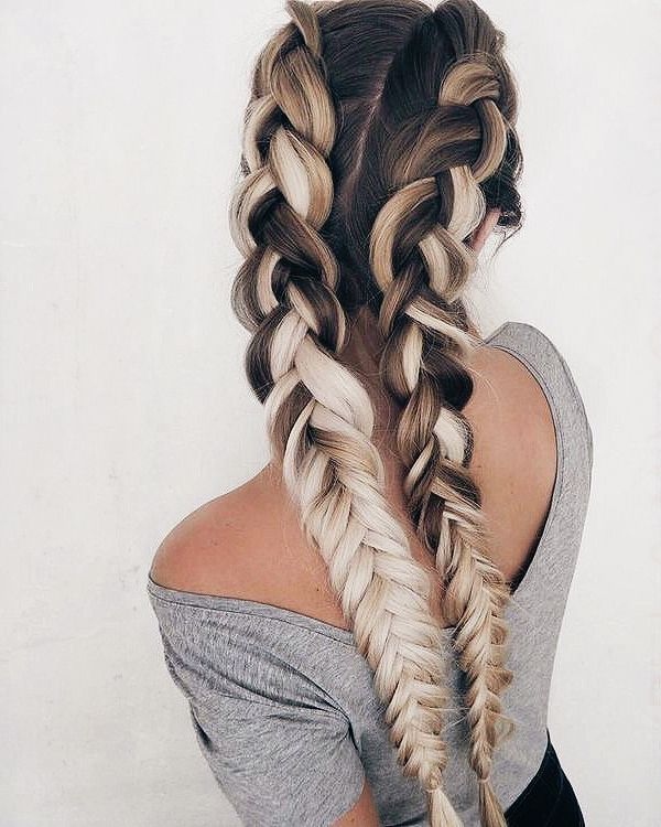 Penteado com trança embutida cabelo longo