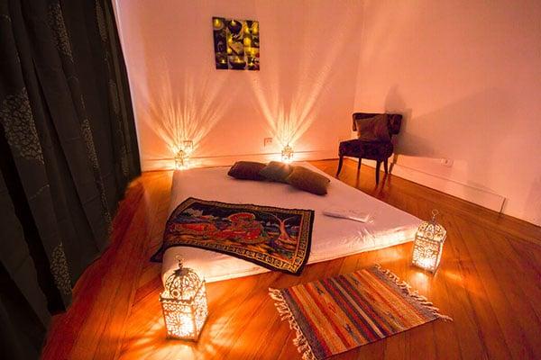 Ambiente romântico para massagem