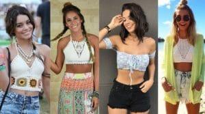mulheres com cropped de crochê