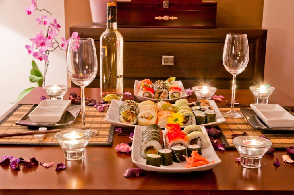 Jantar romântico sushi