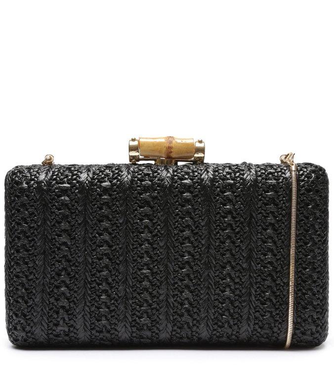 Bolsa de mão preta palha Arezzo