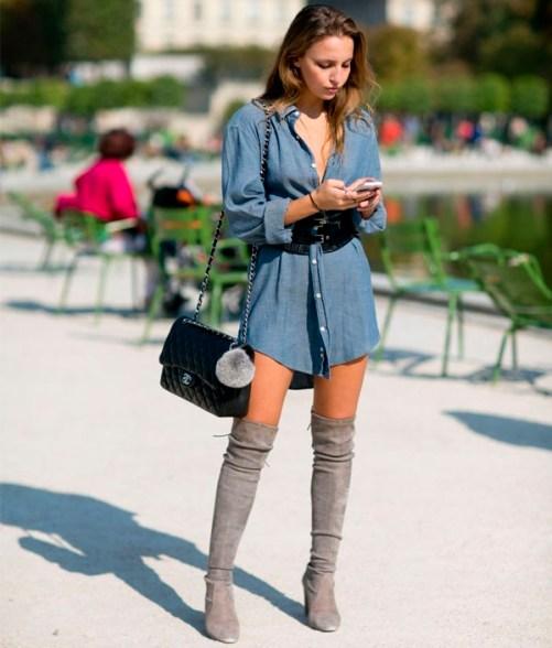 tipos de sapatos femininos bota cinza