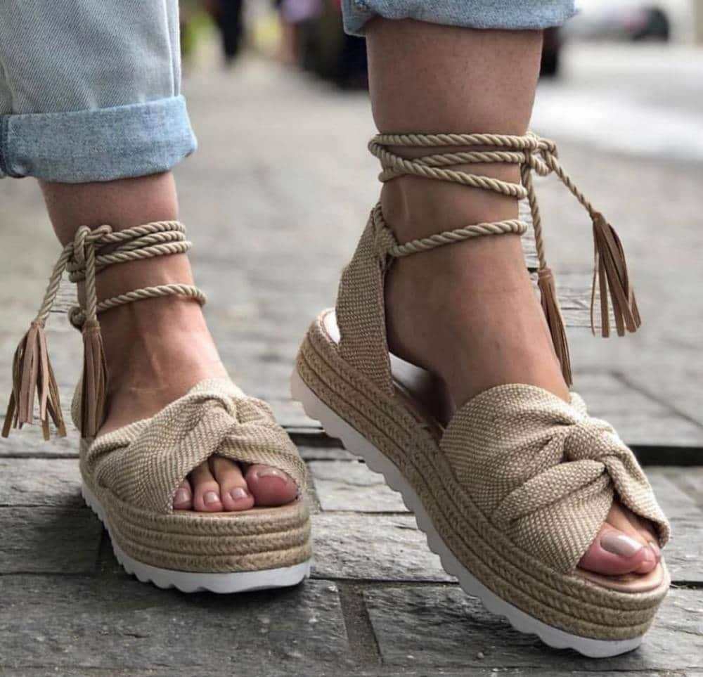 sapatos femininos de corda