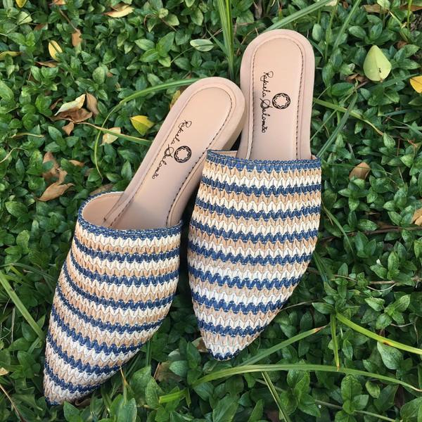sapatos femininos azul mule