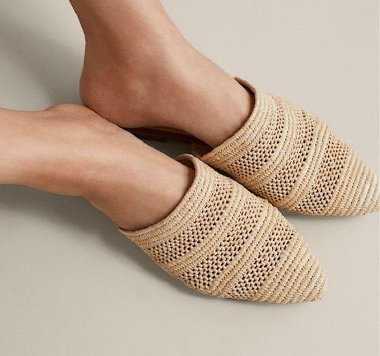 sapatos femininos ráfia