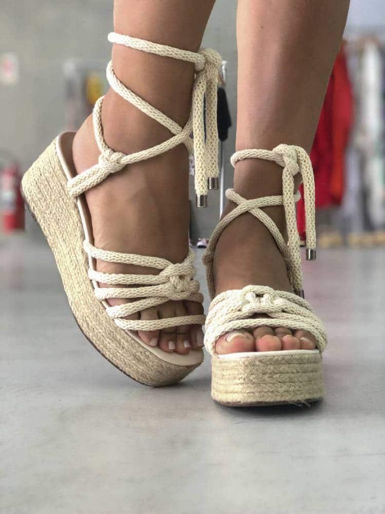 sandálias femininas de corda