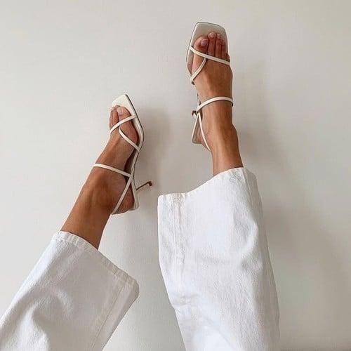 sapatos femininos sandália de tiras finas