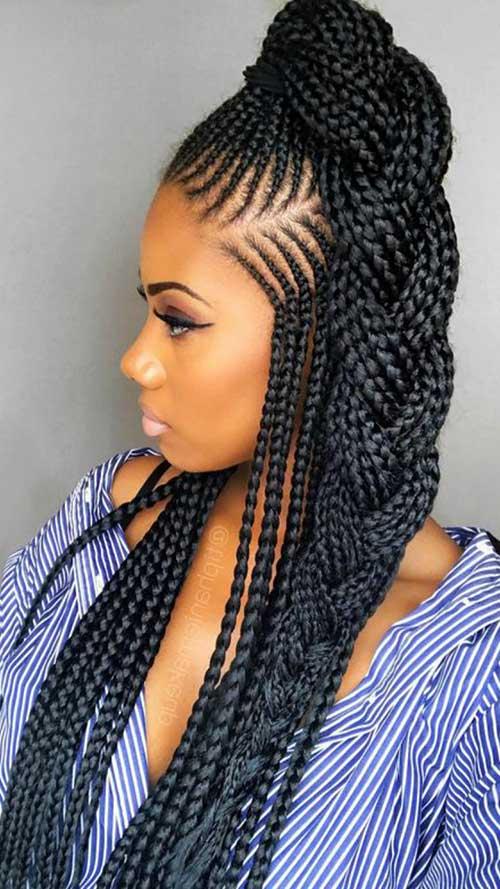 penteado com tranças bonitas nago e box