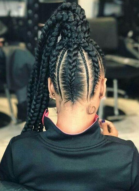 cabelo preso com tranças
