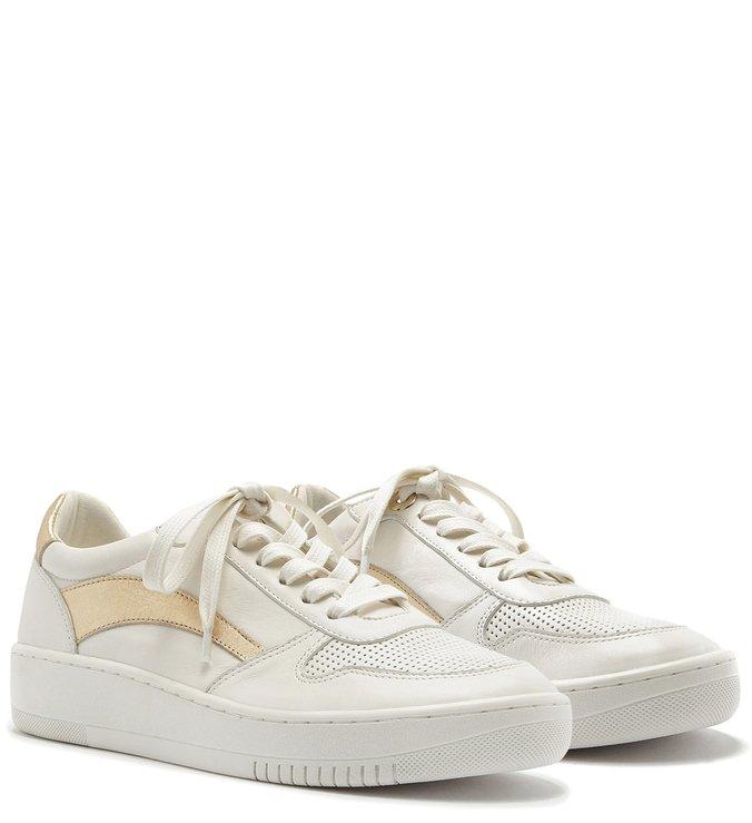 tenis branco com dourado