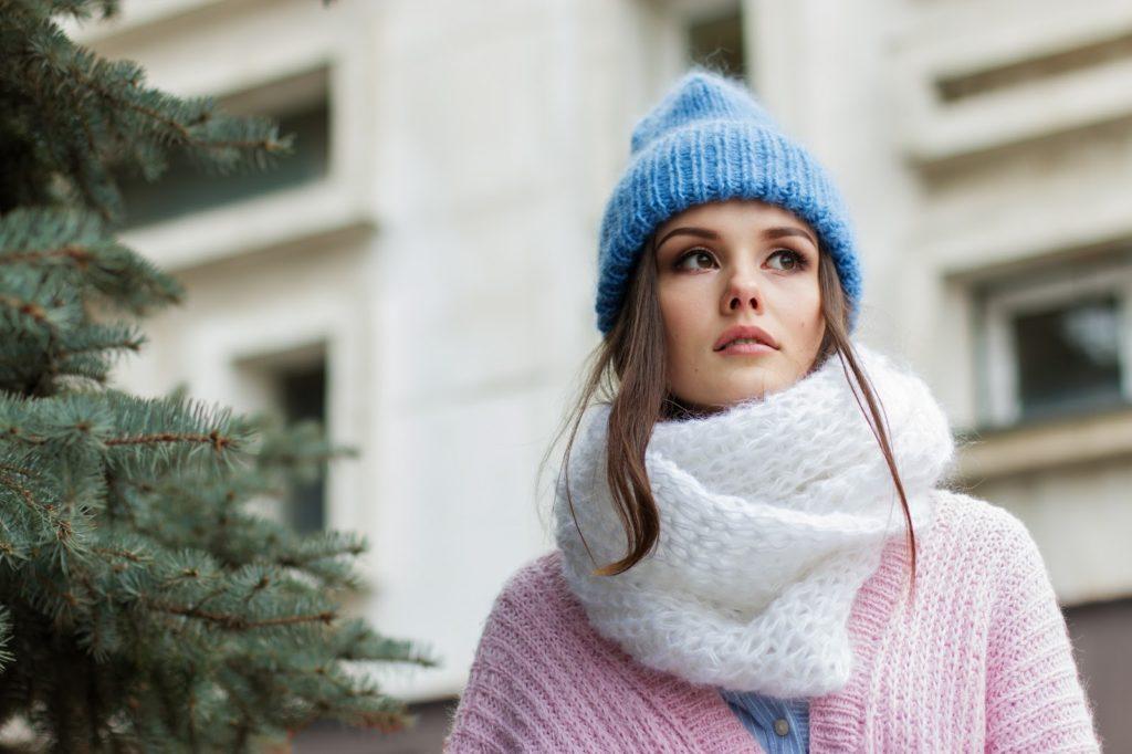 cachecol de lã branco