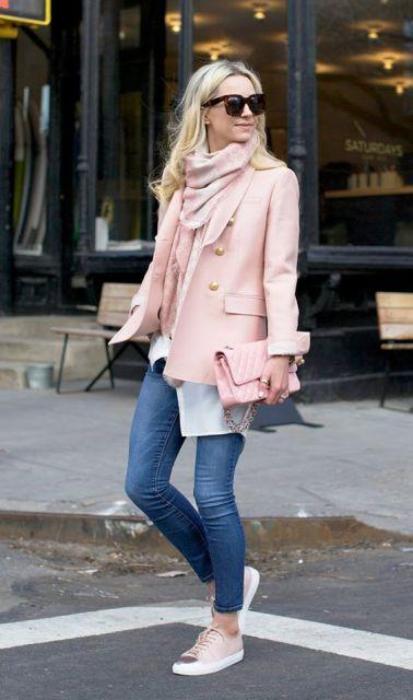 blazer rose com cachecol