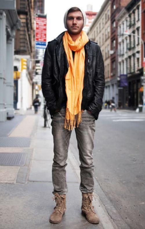 cachecol masculino amarelo