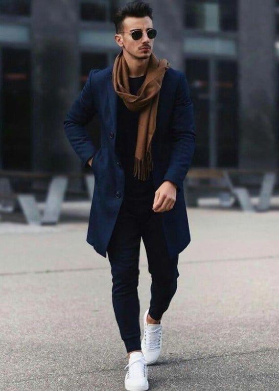 como usar cachecol masculino com casaco