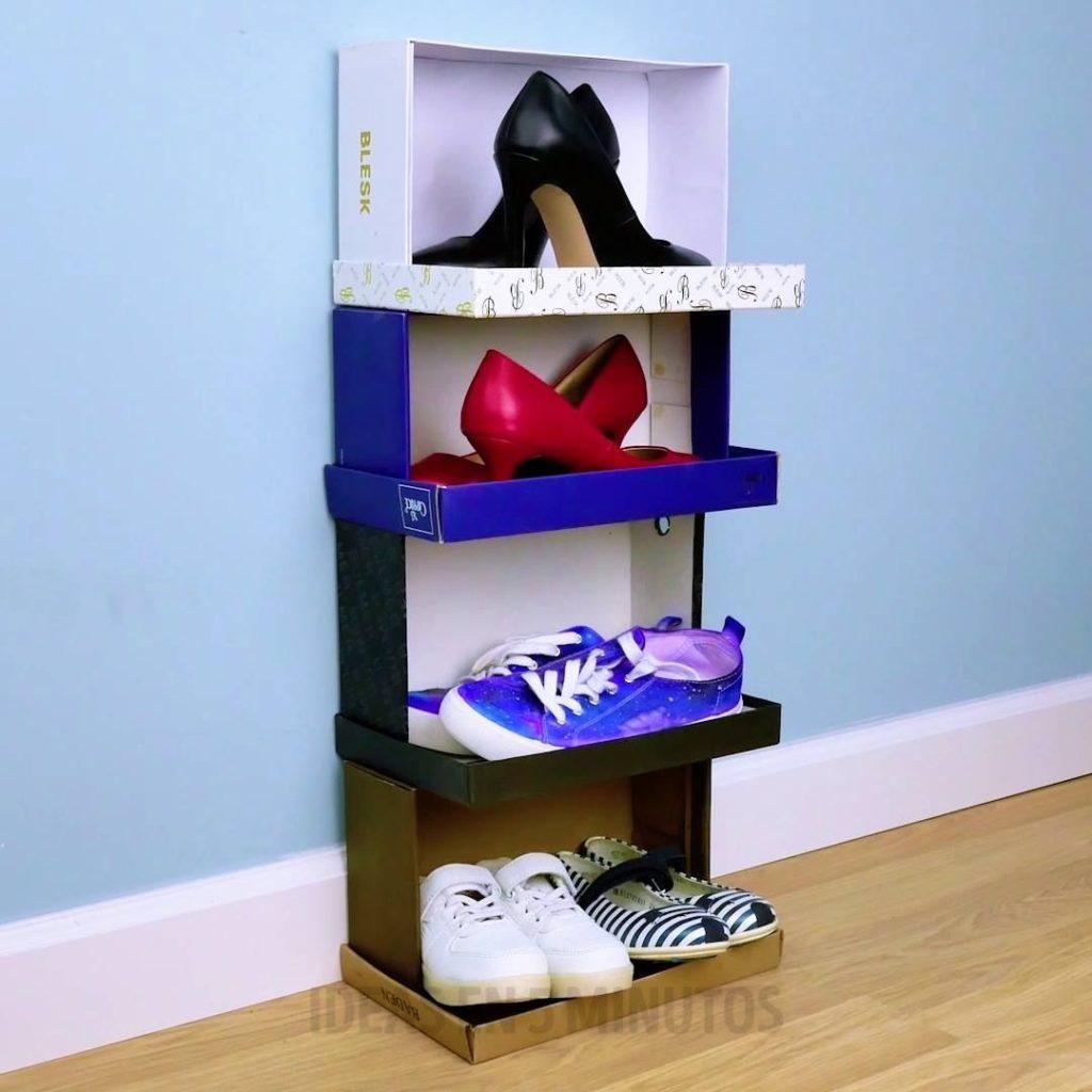 como organizar sapatos com caixas de sapatos