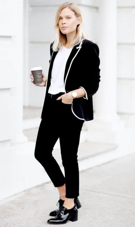 look preto com sapato oxford