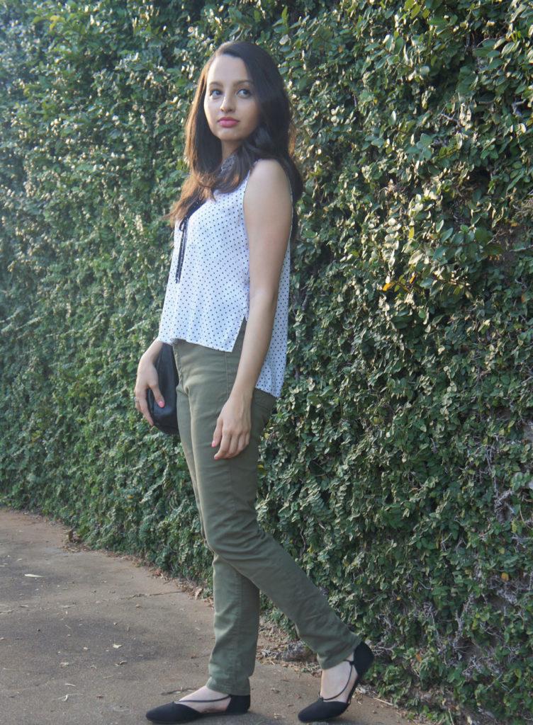 look com calça verde militar