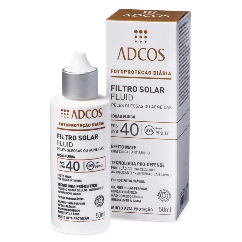 Melhor protetor solar para pele oleosa: Filtro Solar Fluid FPS 40 Peles Oleosas e Acneicas -  Adcos