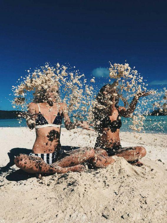 fotos na praia com as amigas efeito movimento