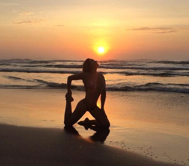 fotos na praia com por do sol