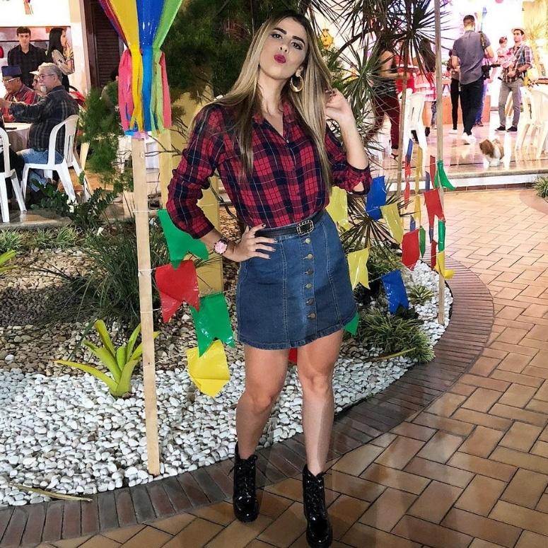 look festa junina saia jeans